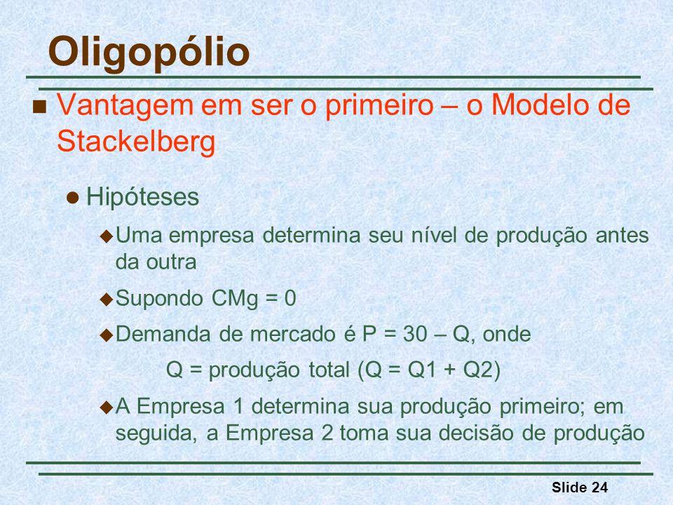 Oligopólio Vantagem em ser o primeiro – o Modelo de Stackelberg