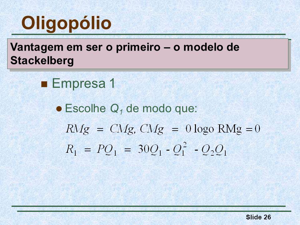 Oligopólio Empresa 1 Escolhe Q1 de modo que: