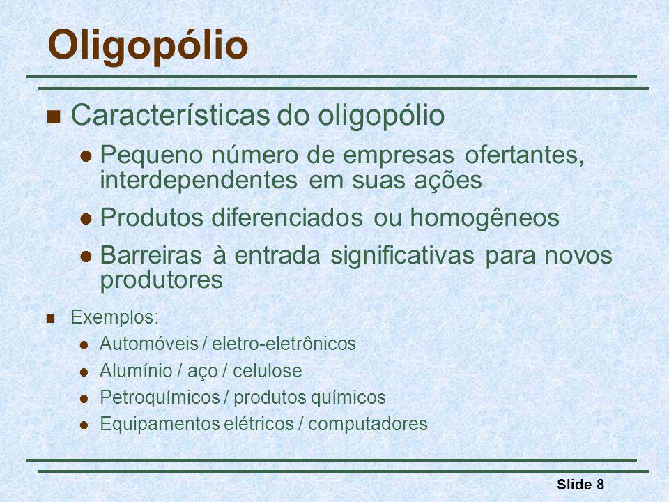 Oligopólio Características do oligopólio