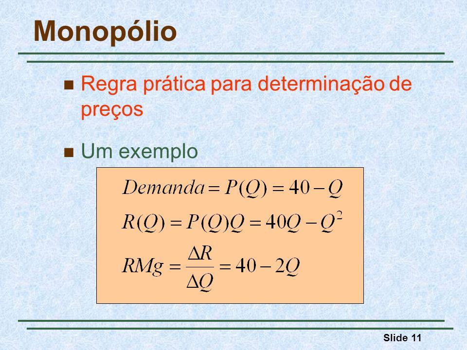 Monopólio Regra prática para determinação de preços Um exemplo 3