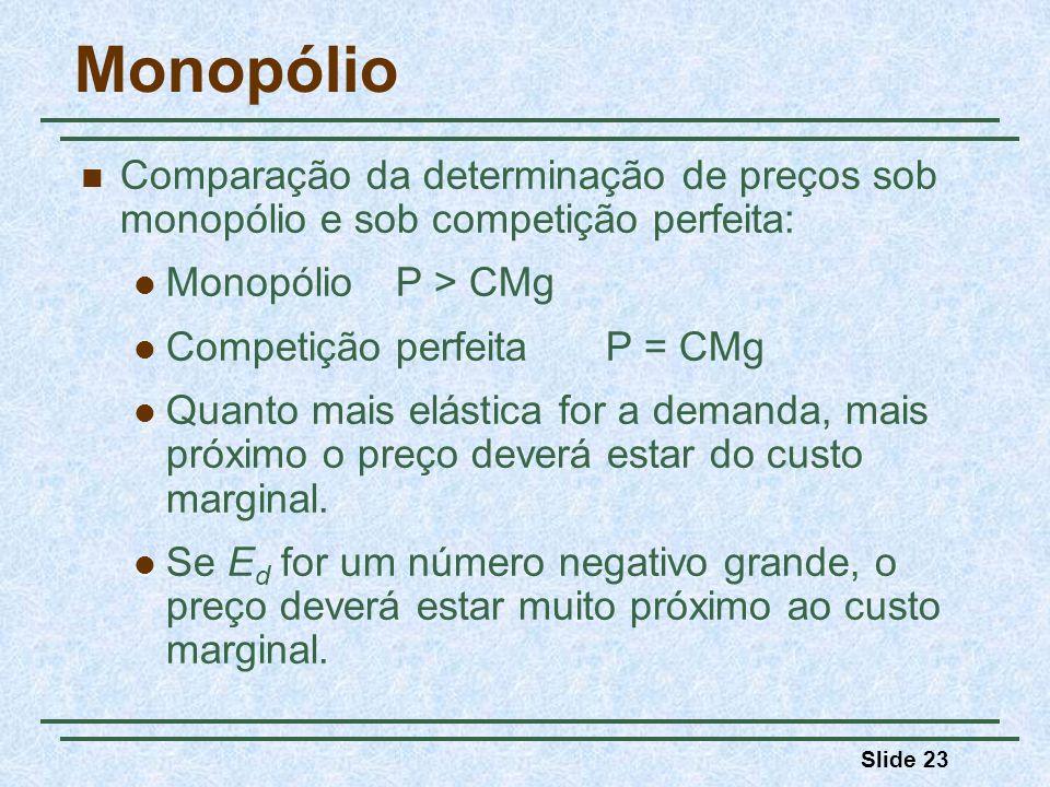Monopólio Comparação da determinação de preços sob monopólio e sob competição perfeita: Monopólio P > CMg.