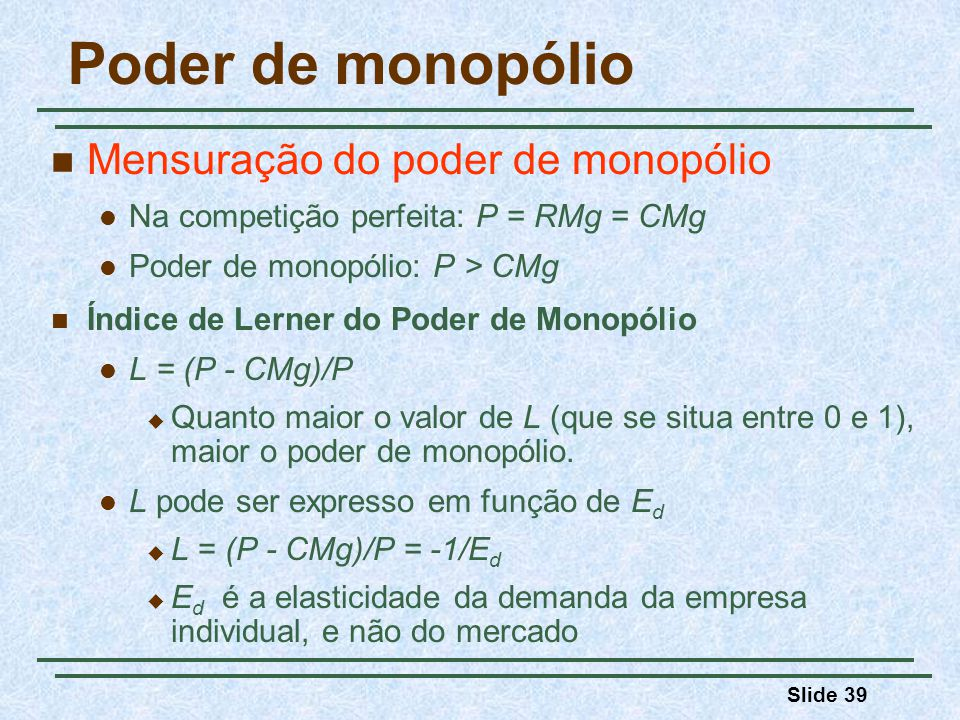 Poder de monopólio Mensuração do poder de monopólio