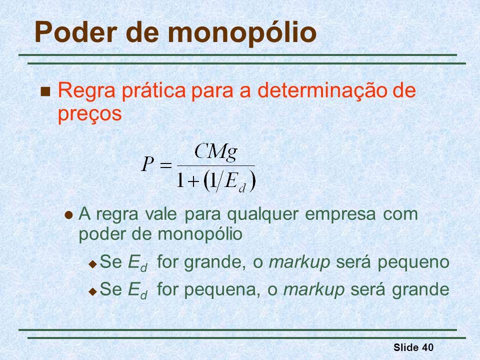 Poder de monopólio Regra prática para a determinação de preços