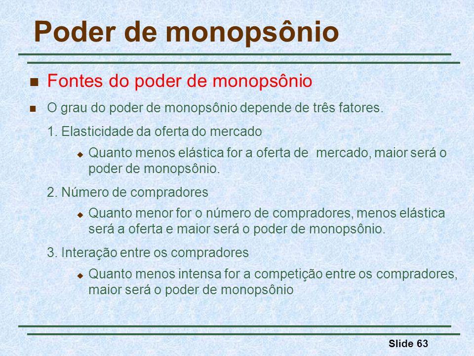 Poder de monopsônio Fontes do poder de monopsônio