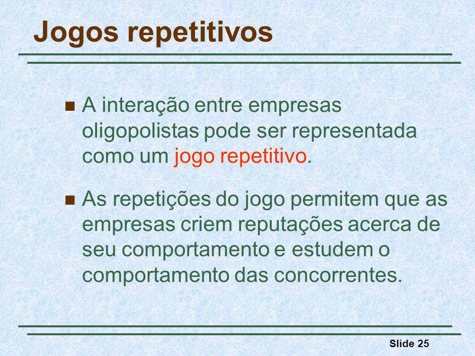 Jogos repetitivos A interação entre empresas oligopolistas pode ser representada como um jogo repetitivo.