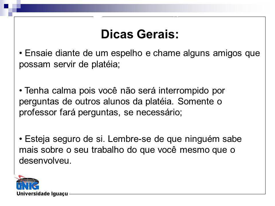 Formatação Dicas Gerais: