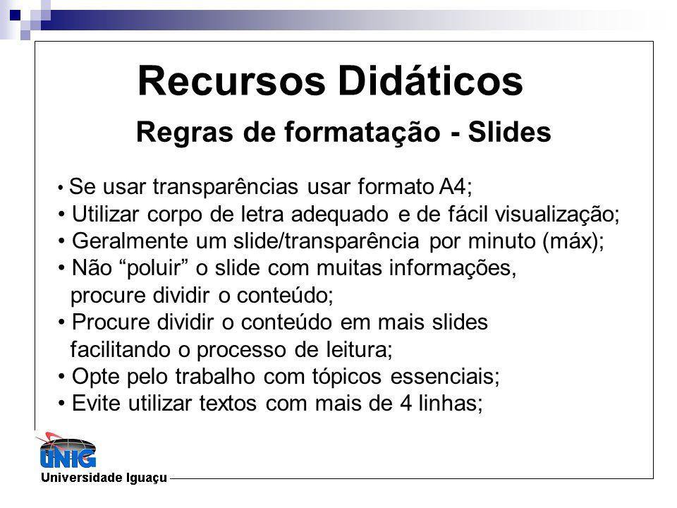 Regras de formatação - Slides