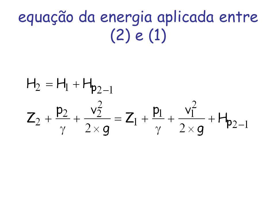 equação da energia aplicada entre (2) e (1)