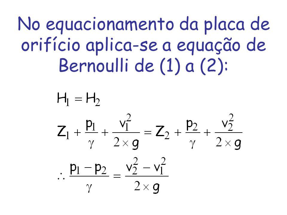 No equacionamento da placa de orifício aplica-se a equação de Bernoulli de (1) a (2):