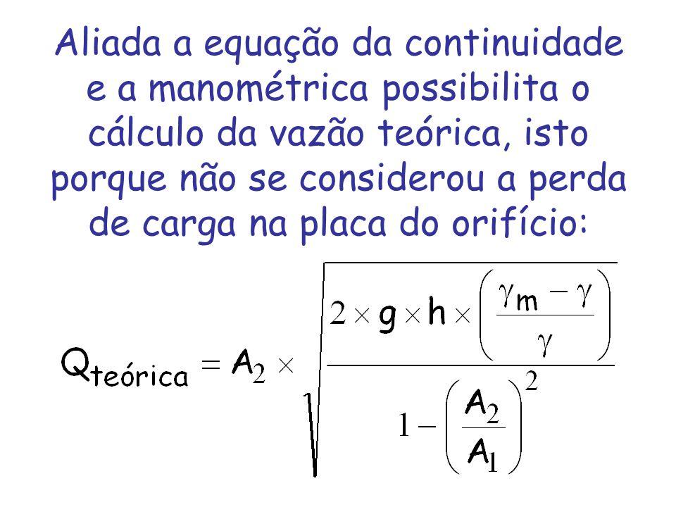 Aliada a equação da continuidade e a manométrica possibilita o cálculo da vazão teórica, isto porque não se considerou a perda de carga na placa do orifício: