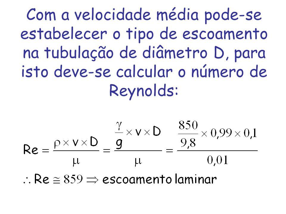 Com a velocidade média pode-se estabelecer o tipo de escoamento na tubulação de diâmetro D, para isto deve-se calcular o número de Reynolds: