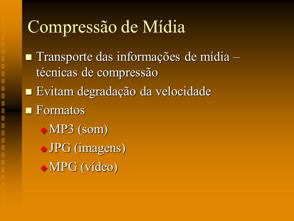 Compressão de Mídia Transporte das informações de mídia – técnicas de compressão. Evitam degradação da velocidade.