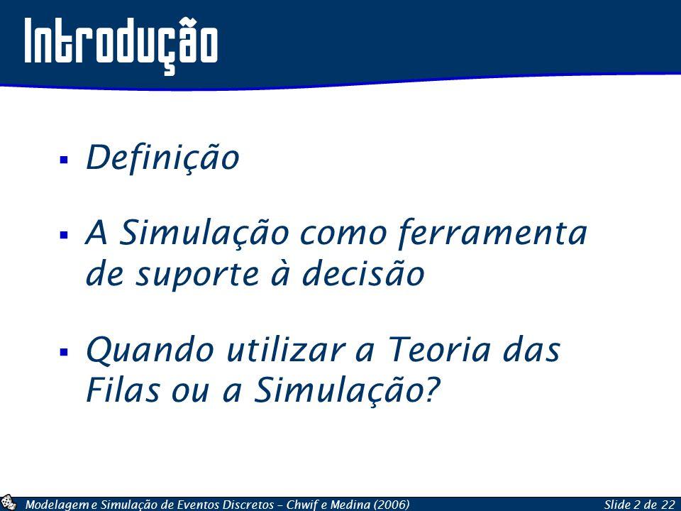 Introdução Definição A Simulação como ferramenta de suporte à decisão