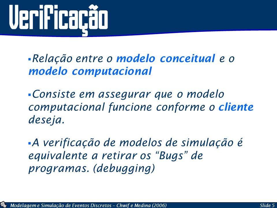 Verificação Relação entre o modelo conceitual e o modelo computacional