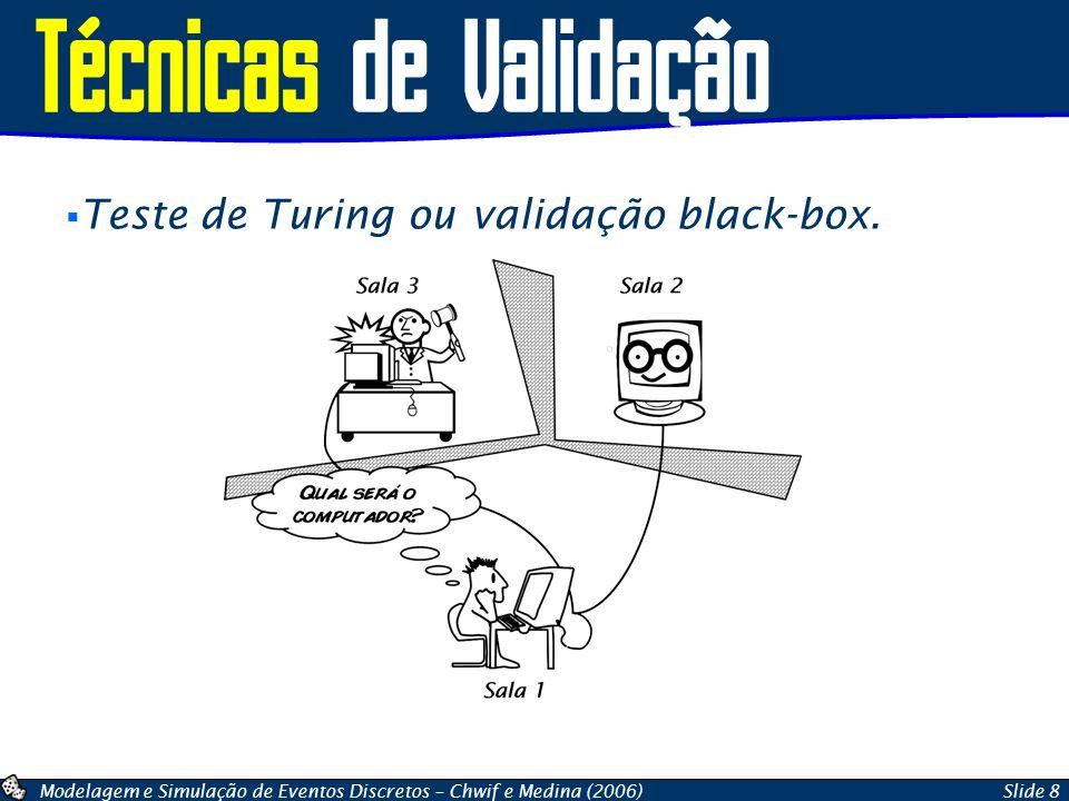 Técnicas de Validação Teste de Turing ou validação black-box.