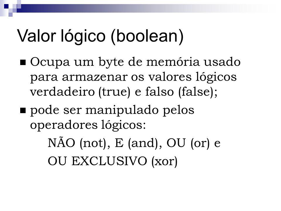 Valor lógico (boolean)
