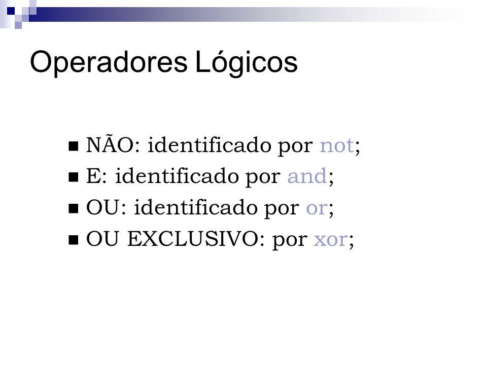 Operadores Lógicos NÃO: identificado por not; E: identificado por and;