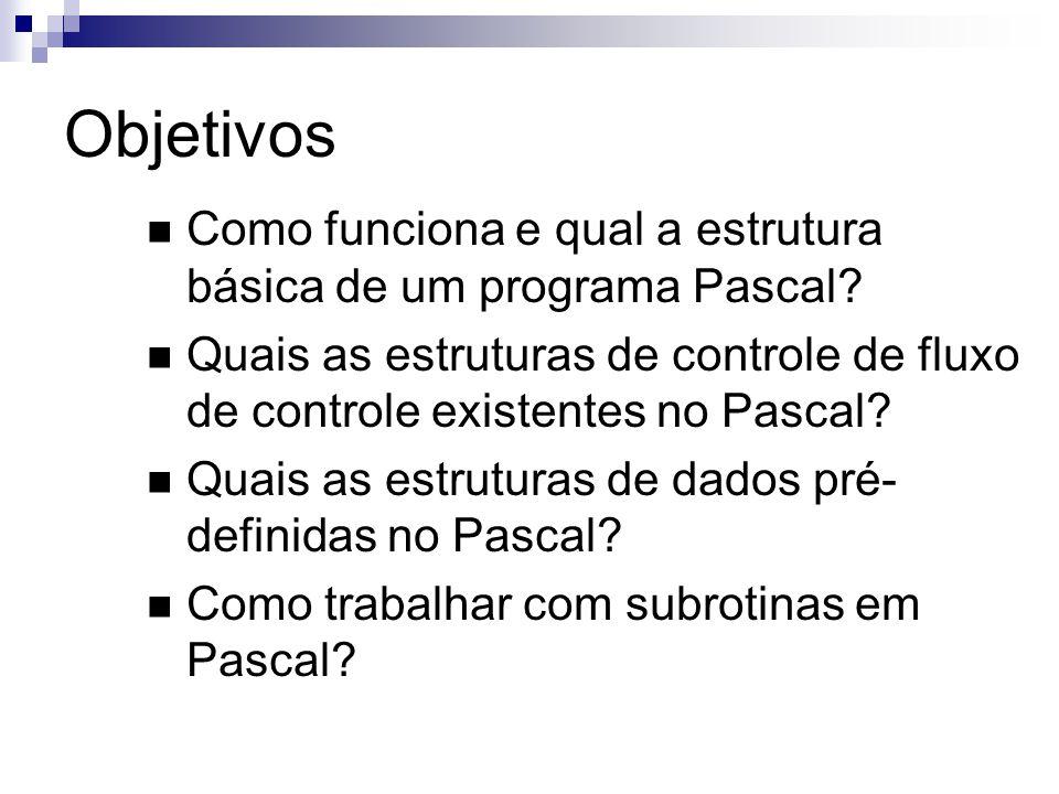 Objetivos Como funciona e qual a estrutura básica de um programa Pascal