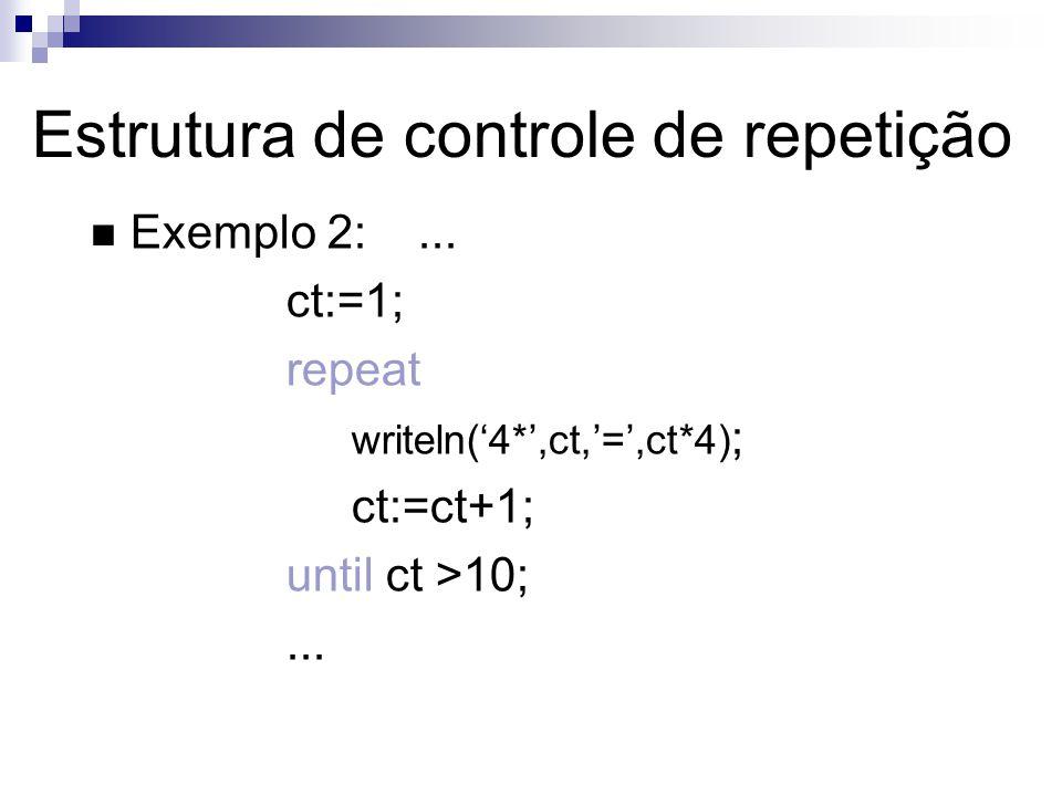 Estrutura de controle de repetição