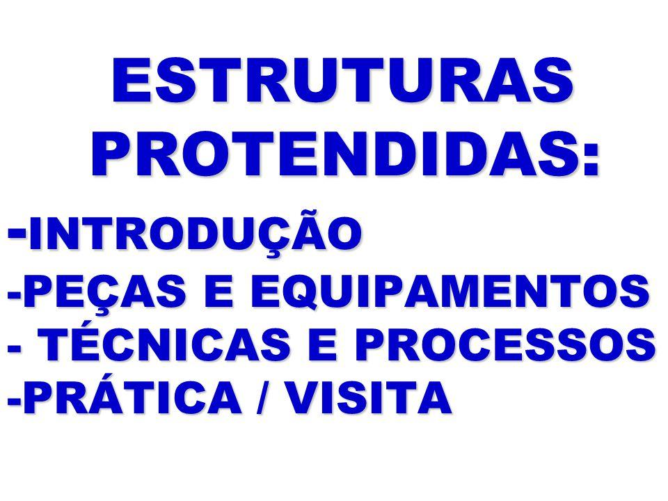 ESTRUTURAS PROTENDIDAS: -INTRODUÇÃO -PEÇAS E EQUIPAMENTOS - TÉCNICAS E PROCESSOS -PRÁTICA / VISITA