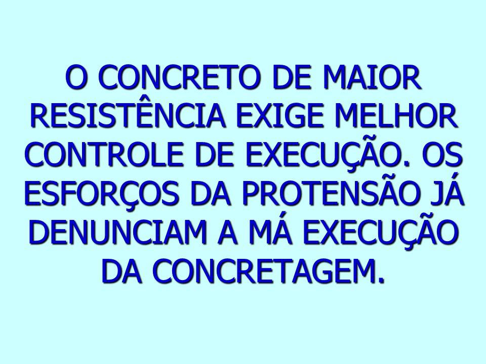 O CONCRETO DE MAIOR RESISTÊNCIA EXIGE MELHOR CONTROLE DE EXECUÇÃO