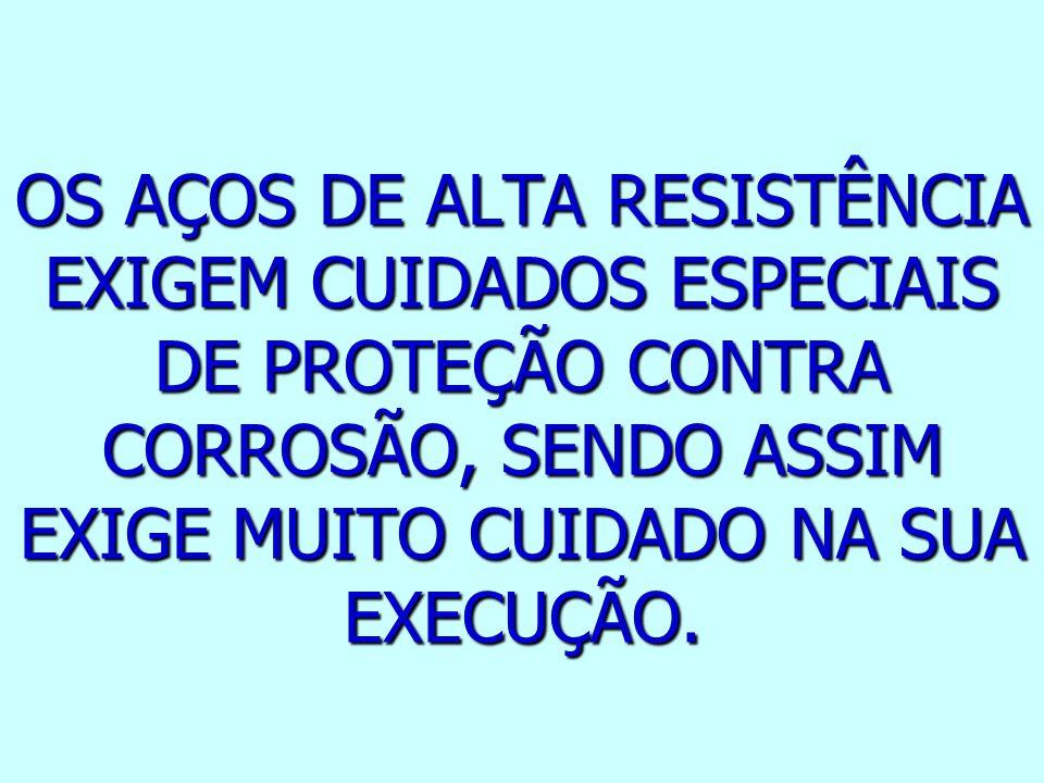 OS AÇOS DE ALTA RESISTÊNCIA EXIGEM CUIDADOS ESPECIAIS DE PROTEÇÃO CONTRA CORROSÃO, SENDO ASSIM EXIGE MUITO CUIDADO NA SUA EXECUÇÃO.