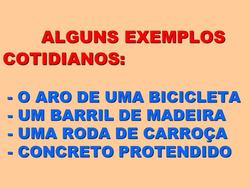 ALGUNS EXEMPLOS COTIDIANOS: - O ARO DE UMA BICICLETA - UM BARRIL DE MADEIRA - UMA RODA DE CARROÇA - CONCRETO PROTENDIDO