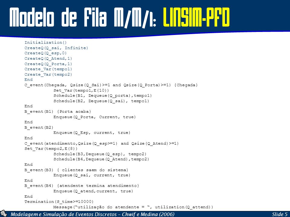 Modelo de Fila M/M/1: LINSIM-PFD