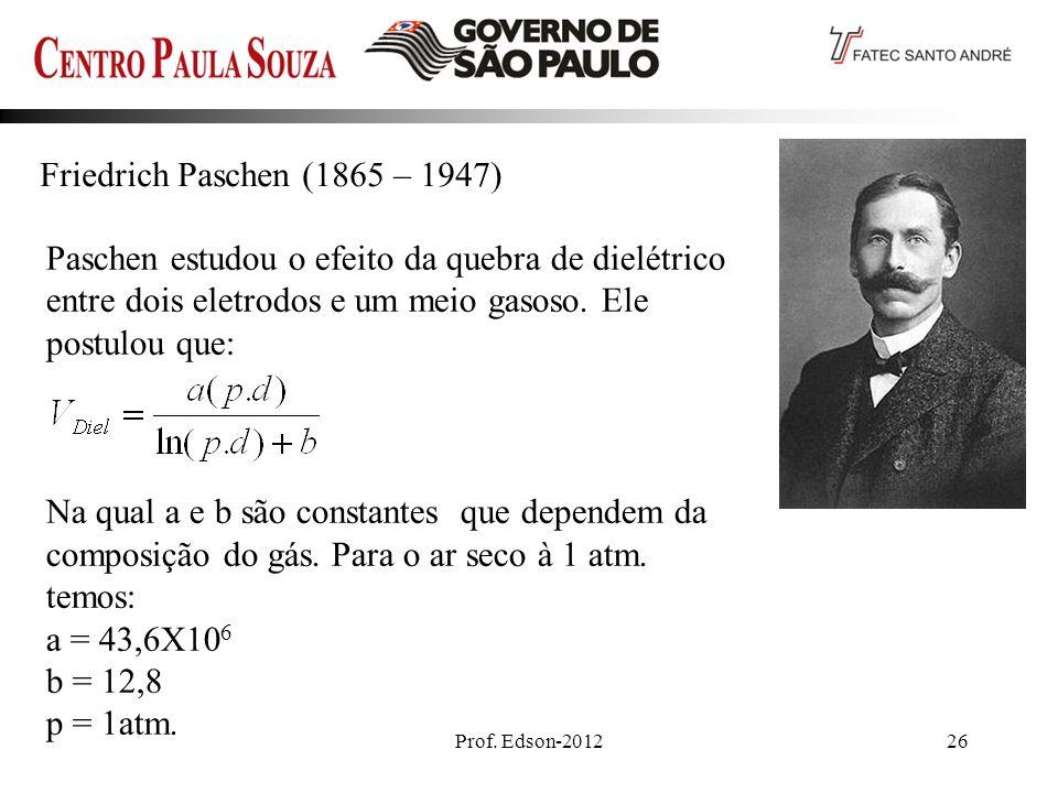 Friedrich Paschen (1865 – 1947) Paschen estudou o efeito da quebra de dielétrico entre dois eletrodos e um meio gasoso. Ele postulou que: