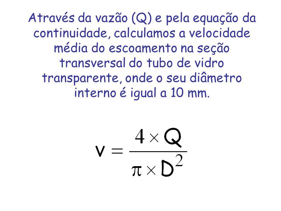 Através da vazão (Q) e pela equação da continuidade, calculamos a velocidade média do escoamento na seção transversal do tubo de vidro transparente, onde o seu diâmetro interno é igual a 10 mm.