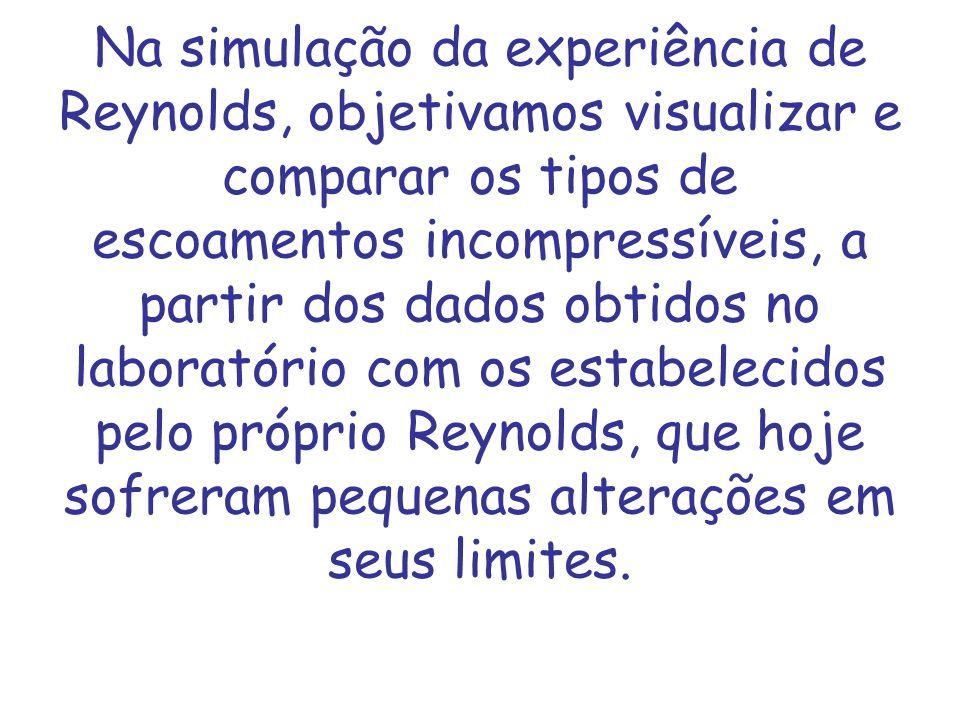 Na simulação da experiência de Reynolds, objetivamos visualizar e comparar os tipos de escoamentos incompressíveis, a partir dos dados obtidos no laboratório com os estabelecidos pelo próprio Reynolds, que hoje sofreram pequenas alterações em seus limites.