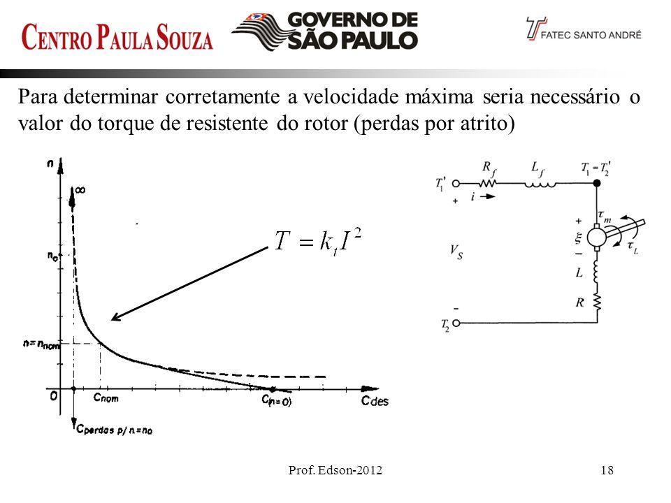 Para determinar corretamente a velocidade máxima seria necessário o valor do torque de resistente do rotor (perdas por atrito)