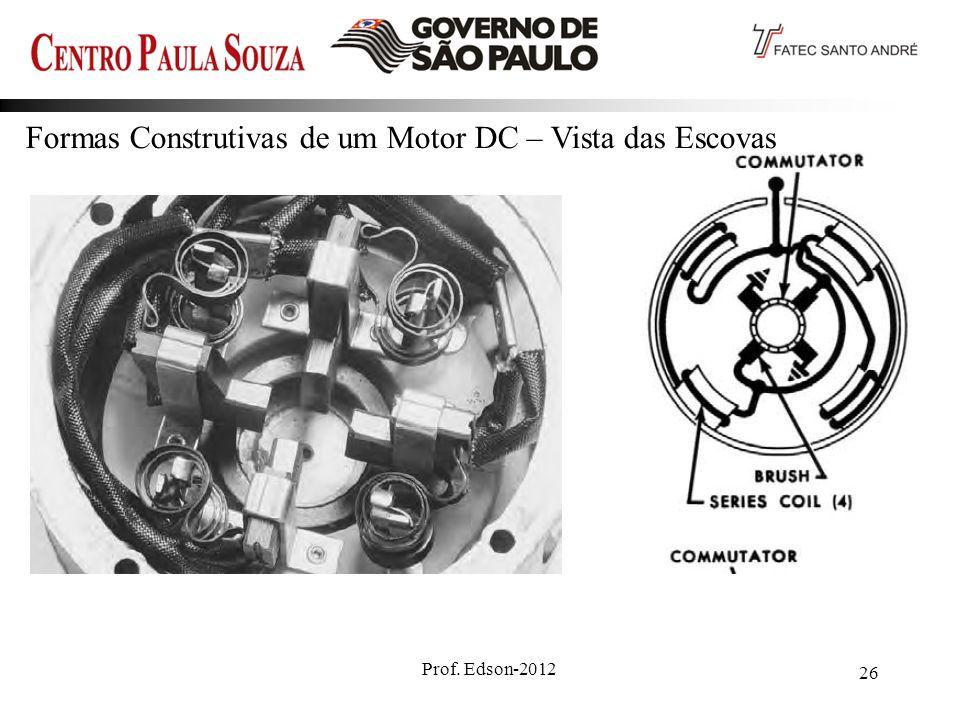Formas Construtivas de um Motor DC – Vista das Escovas