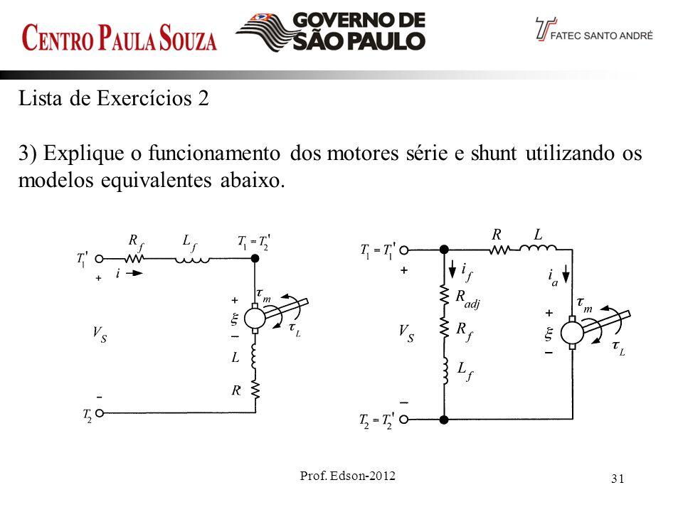 Lista de Exercícios 2 3) Explique o funcionamento dos motores série e shunt utilizando os modelos equivalentes abaixo.