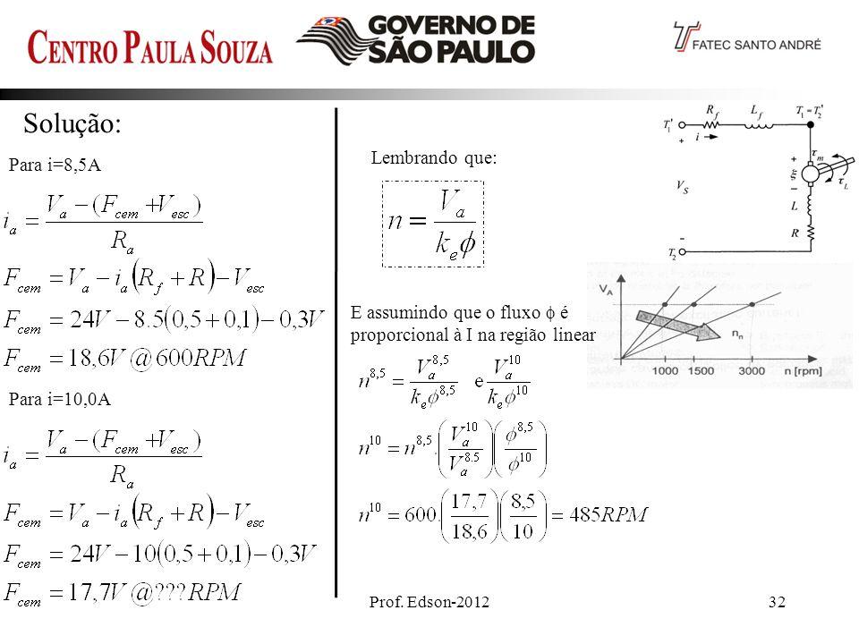 Solução: Lembrando que: Para i=8,5A