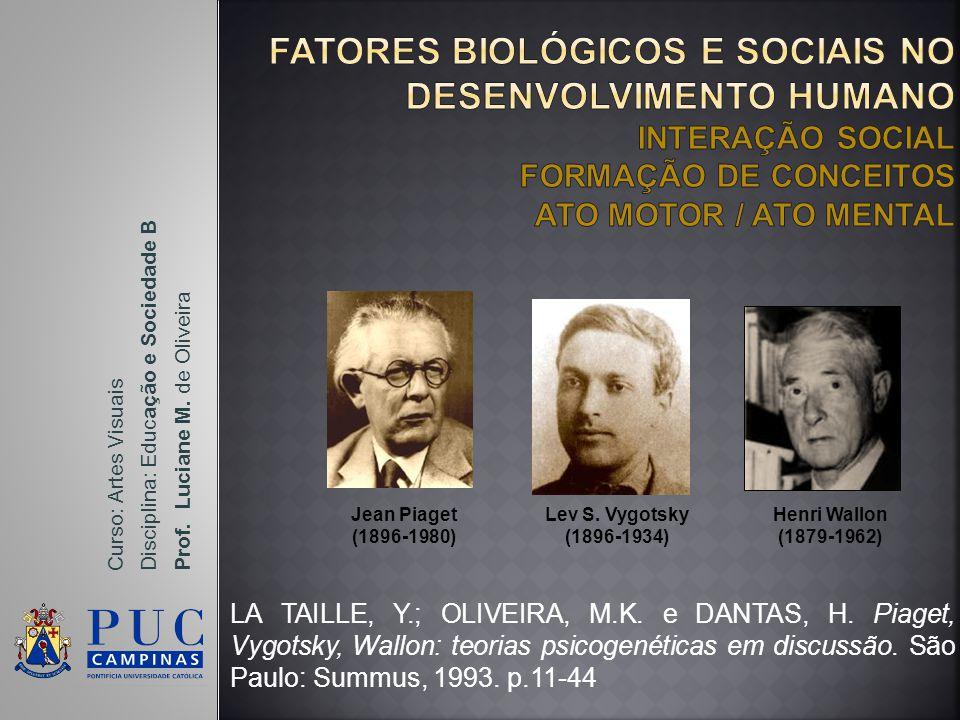 FATORES BIOLÓGICOS E SOCIAIS NO DESENVOLVIMENTO HUMANO INTERAÇÃO SOCIAL FORMAÇÃO DE CONCEITOS ATO MOTOR / ATO MENTAL