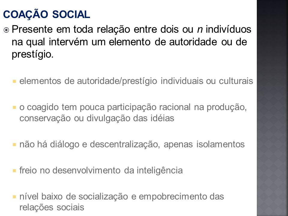 COAÇÃO SOCIAL Presente em toda relação entre dois ou n indivíduos na qual intervém um elemento de autoridade ou de prestígio.