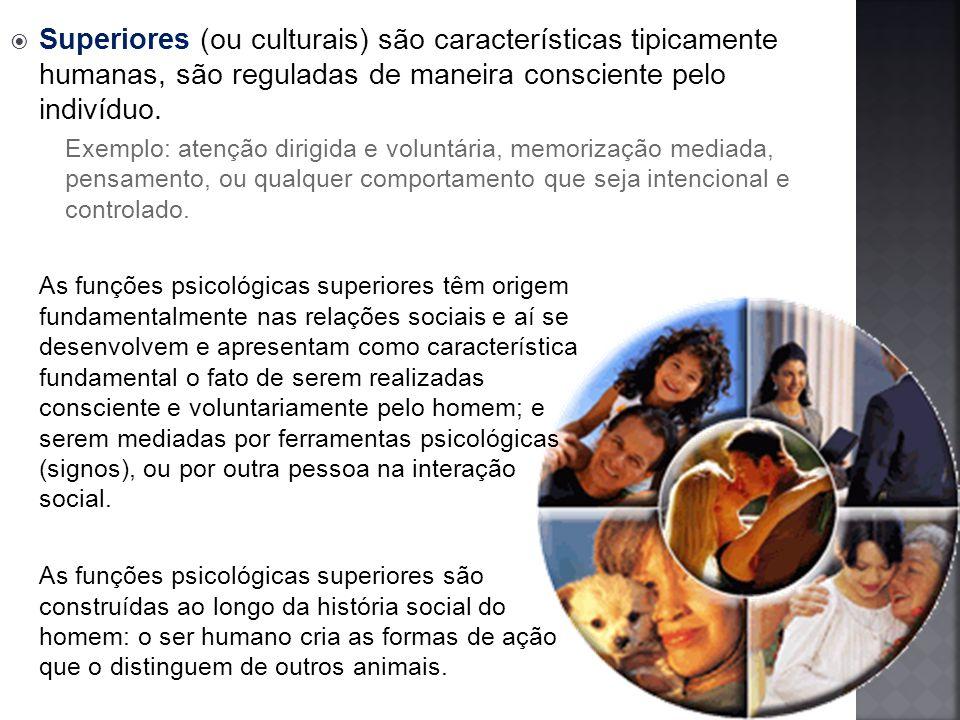 Superiores (ou culturais) são características tipicamente humanas, são reguladas de maneira consciente pelo indivíduo.
