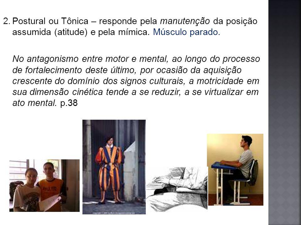 Postural ou Tônica – responde pela manutenção da posição assumida (atitude) e pela mímica. Músculo parado.