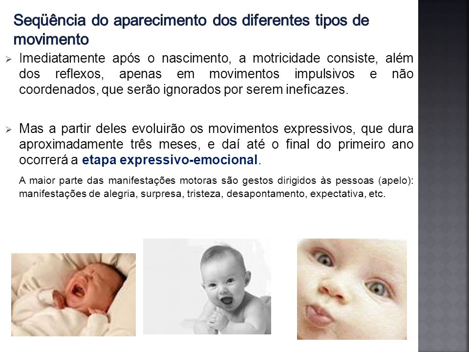 Seqüência do aparecimento dos diferentes tipos de movimento