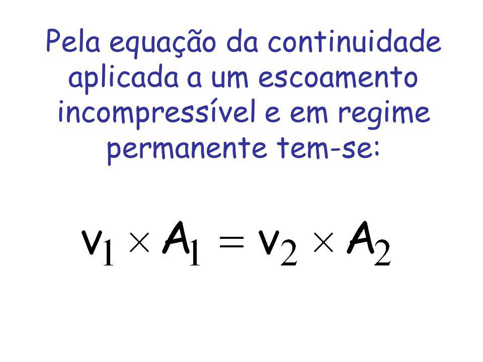 Pela equação da continuidade aplicada a um escoamento incompressível e em regime permanente tem-se: