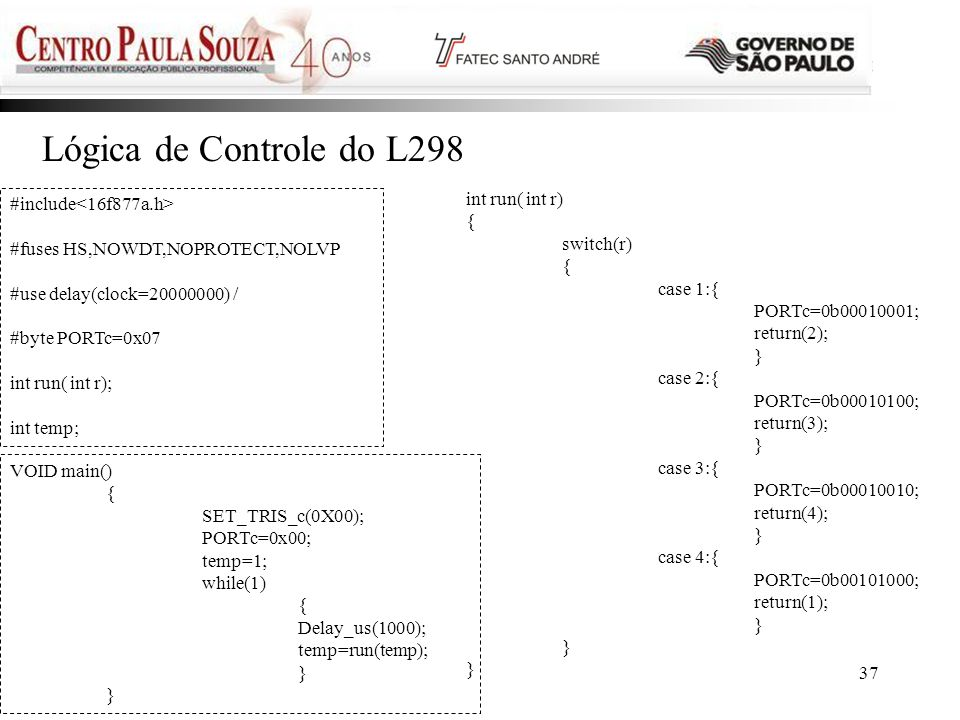Lógica de Controle do L298 int run( int r) #include<16f877a.h> {