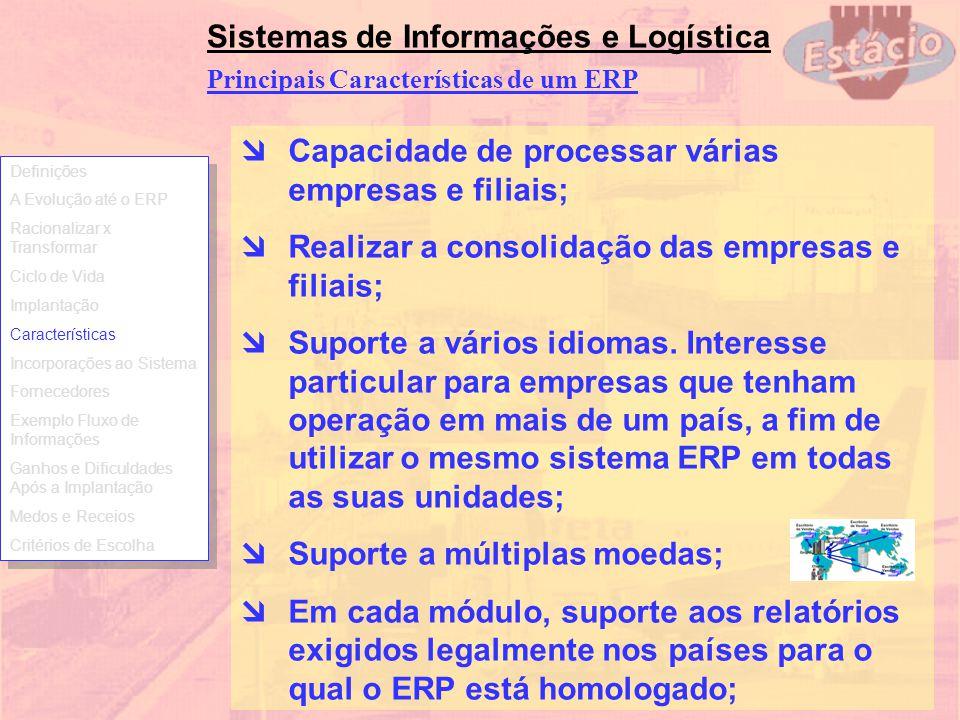 Principais Características de um ERP