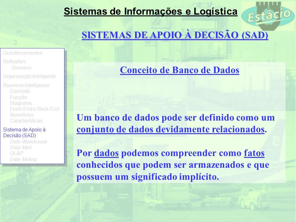 SISTEMAS DE APOIO À DECISÃO (SAD) Conceito de Banco de Dados