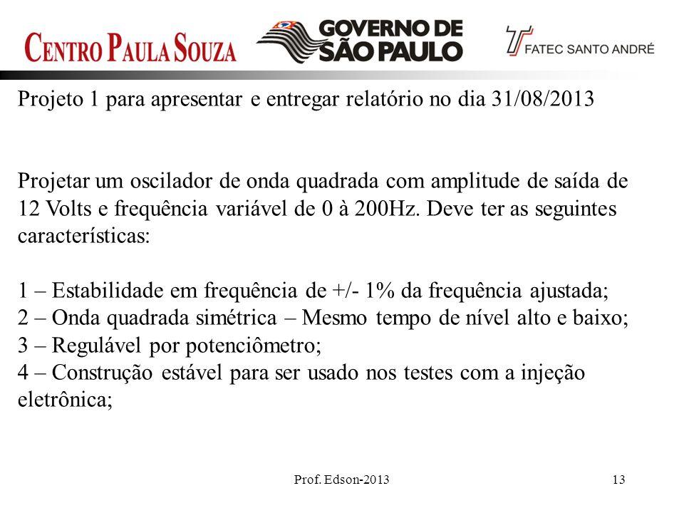 Projeto 1 para apresentar e entregar relatório no dia 31/08/2013