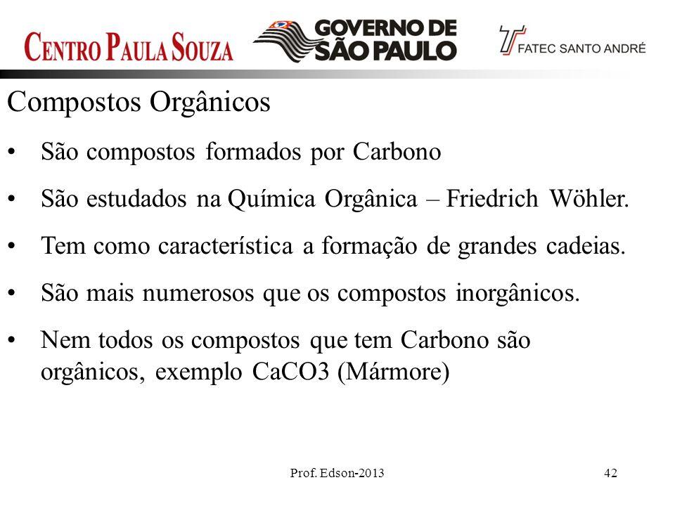 Compostos Orgânicos São compostos formados por Carbono