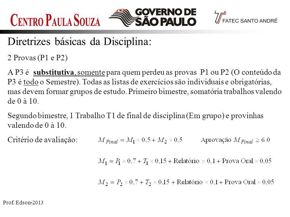Diretrizes básicas da Disciplina: