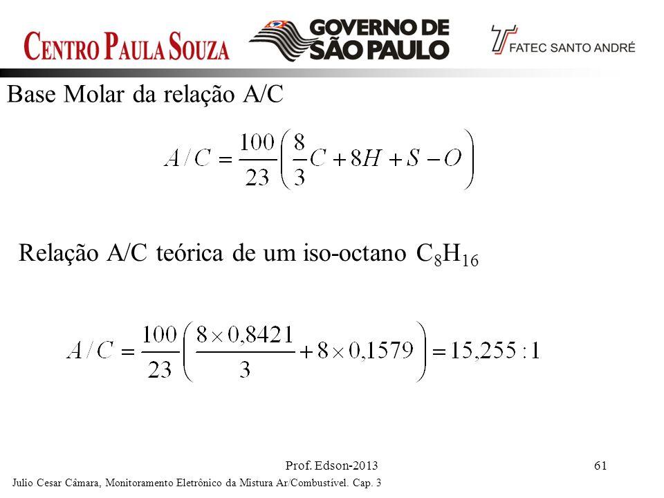 Relação A/C teórica de um iso-octano C8H16