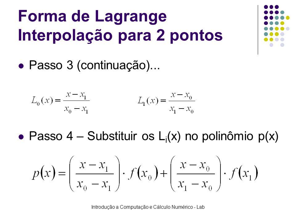 Forma de Lagrange Interpolação para 2 pontos