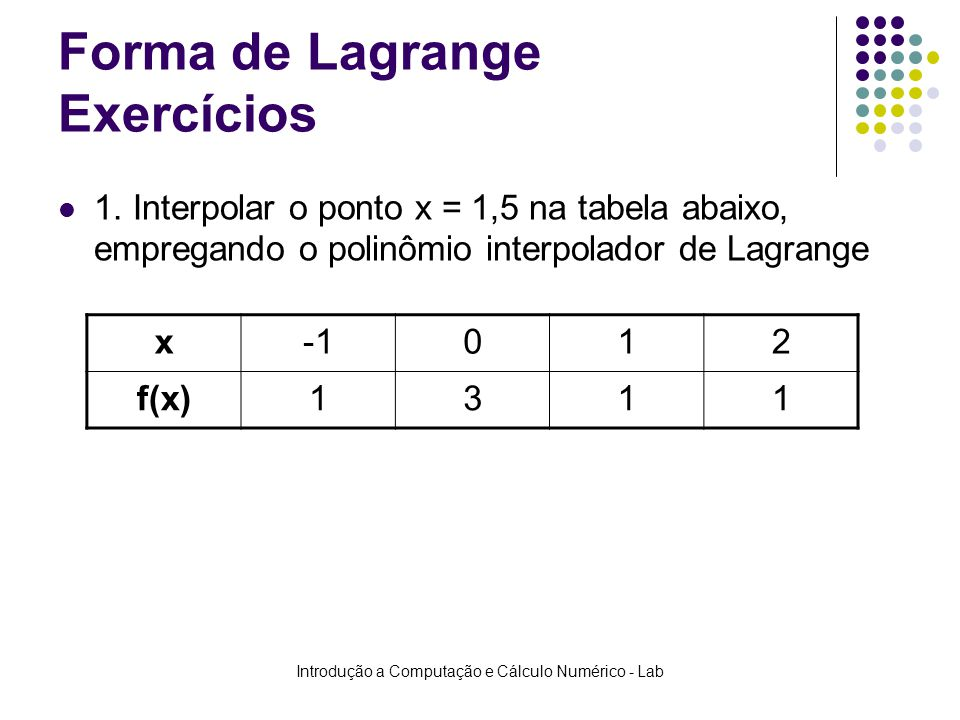 Forma de Lagrange Exercícios